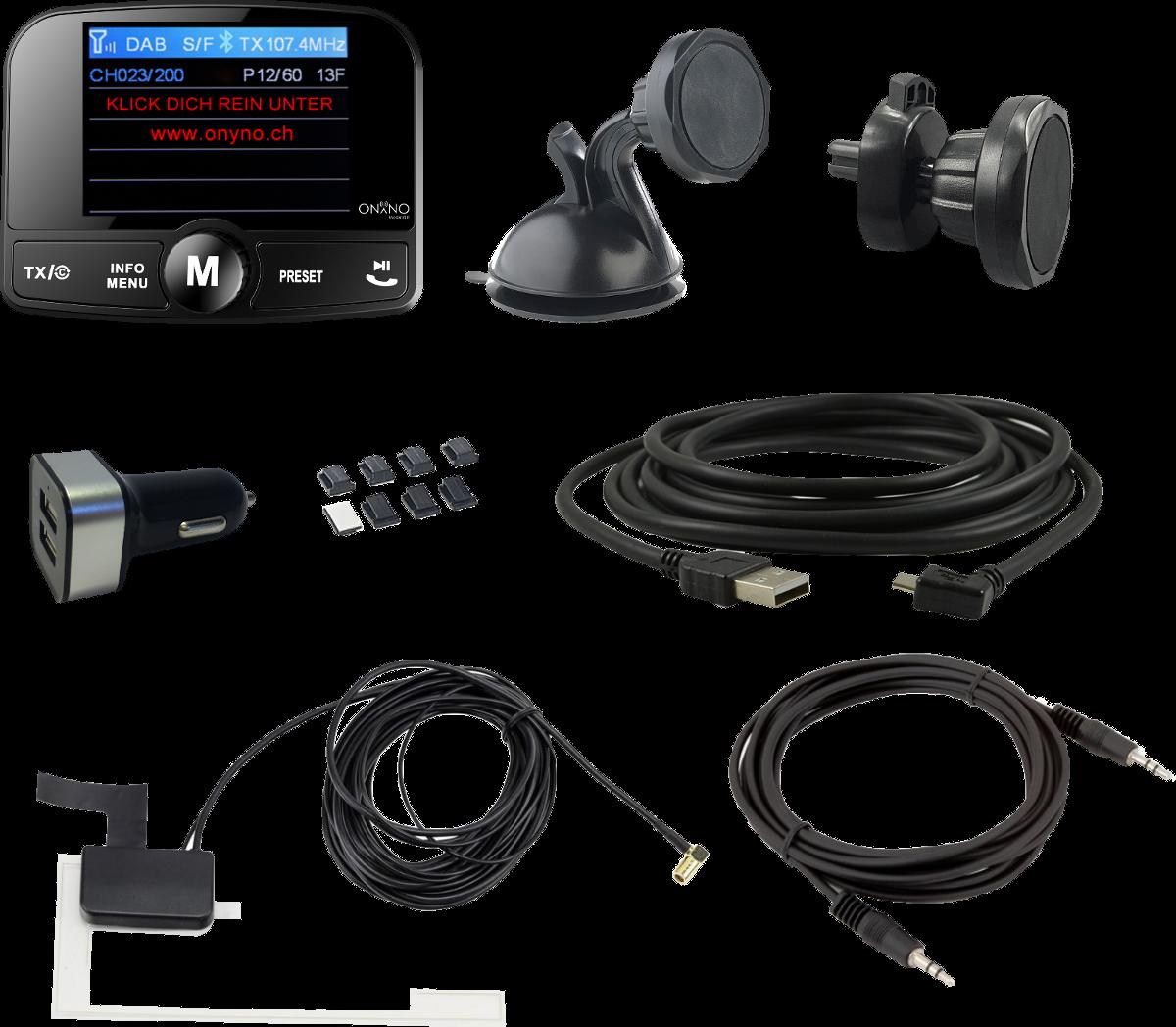 onyno model 8 0 dab fm transmitter mit bluetooth. Black Bedroom Furniture Sets. Home Design Ideas