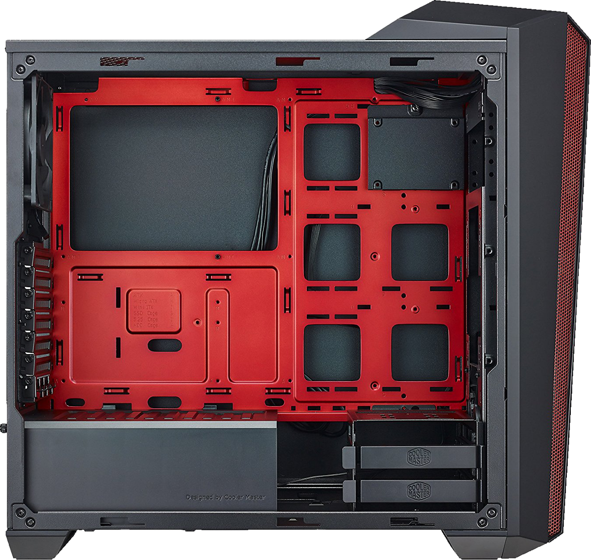 cooler master masterbox 5t pc geh use mit rote led. Black Bedroom Furniture Sets. Home Design Ideas