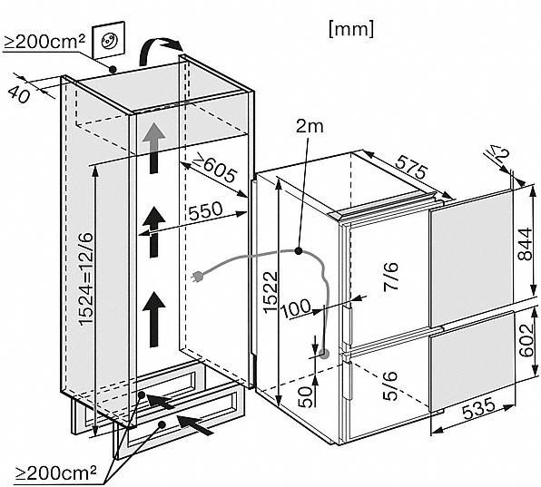 miele kf 35532 55 ed gauche combinaison r frig rateur cong lateur encastrables largeur. Black Bedroom Furniture Sets. Home Design Ideas