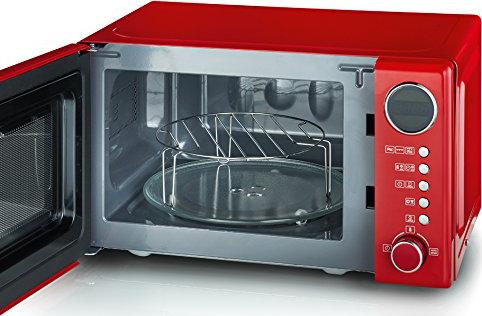 severin mw 7893 retro mikrowelle 700 w rot g nstig kaufen mikrowellen mit grillfunktion. Black Bedroom Furniture Sets. Home Design Ideas