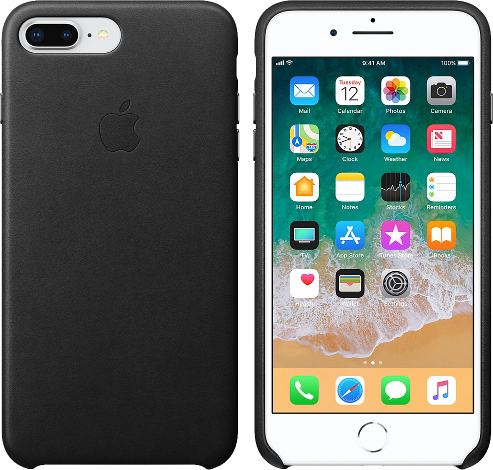 apple leather case f r apple iphone 7 8 plus schwarz. Black Bedroom Furniture Sets. Home Design Ideas