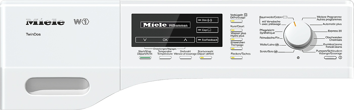 Miele wkg 100 30 ch machine laver porte avant for Profondeur machine a laver