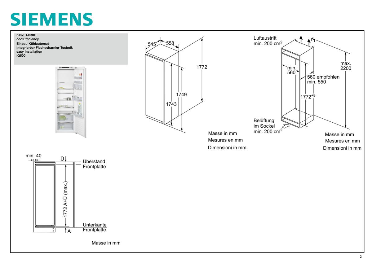 siemens ki82lad30h frigo congelatori combinati da. Black Bedroom Furniture Sets. Home Design Ideas