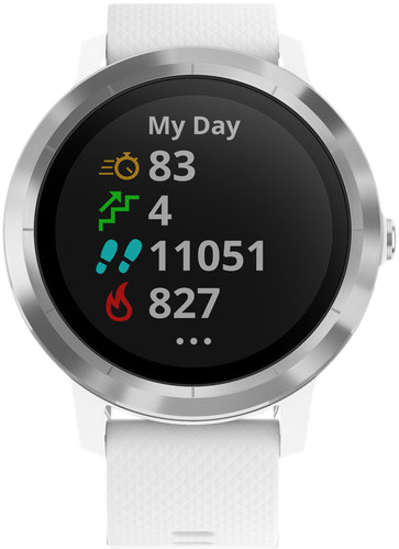 garmin v voactive 3 montre connect e de sport avec gps blanc acier inoxydable. Black Bedroom Furniture Sets. Home Design Ideas