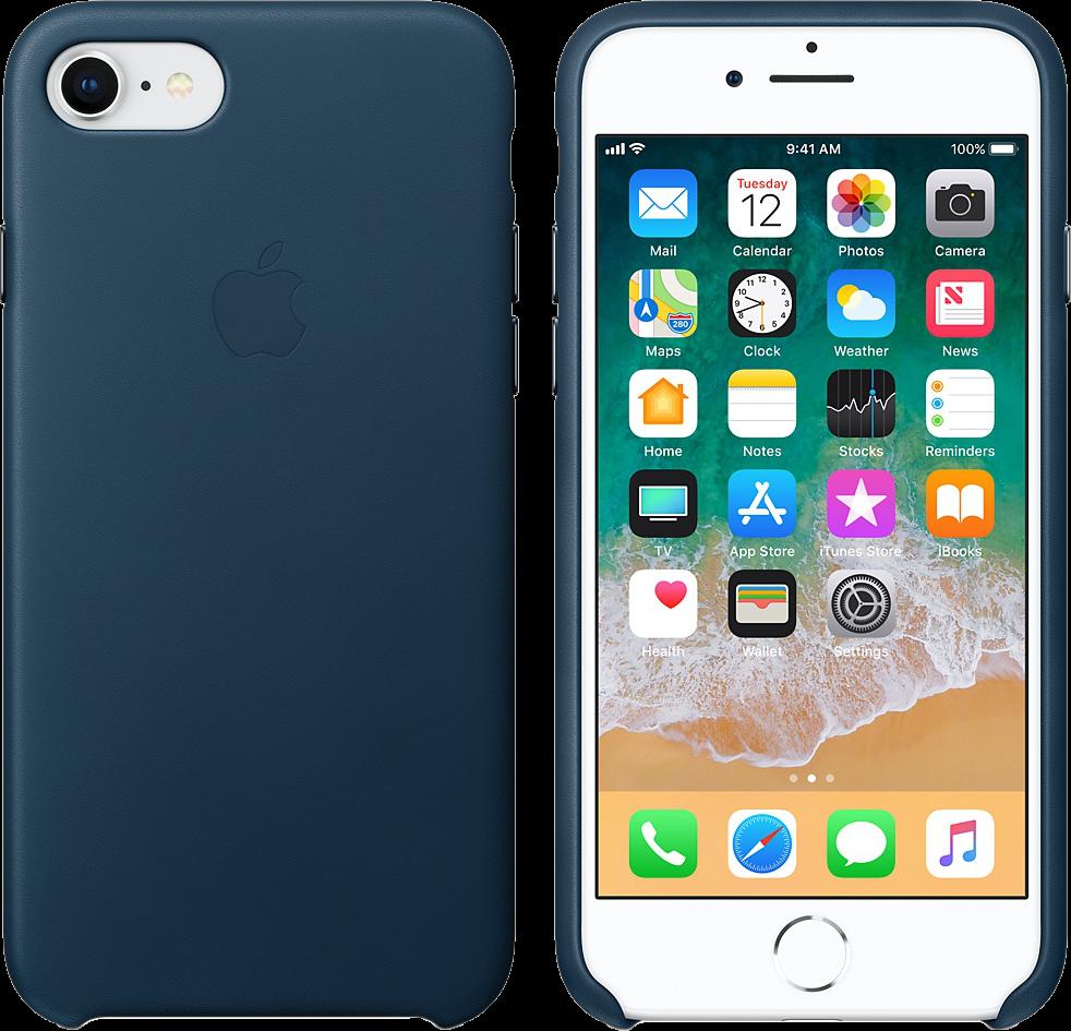 apple leder case f r iphone 7 8 kosmosblau g nstig. Black Bedroom Furniture Sets. Home Design Ideas