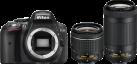 Nikon D5300 + 18-55 VR + 70-300 VR - DX-Format Kamera mit Objektiven - 24.2 MP - schwarz
