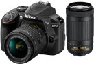 Nikon D3400 + AF-P DX 18-55 mm VR e  70-300 mm - Fotocamera reflex - 24.2 MP - nero