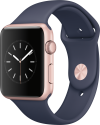 Apple Watch Series 1 - Cassa in alluminio color oro rosa con cinturino Sport - 42 mm - blu notte