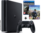 Sony PS4 Slim + Watch Dogs + Watch Dogs 2 - Console - 1 To HDD - noir - allemand