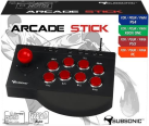 SUBSONIC Arcade Fighting Stick - Controller per PC, PS3, PS4, Xbox One - Nero/Rosso
