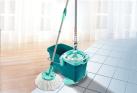 LEIFHEIT SET CLEAN TWIST Disc Mop con carrello - Secchio di 20 litri - Verde