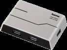 hama USB-3.0-Hub - Mit Netzteil - Silber/Schwarz