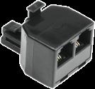 hama Telefon-Splitter, RJ-11 (W) - RJ-11 (W), schwarz