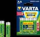 VARTA - Aufladbare Batterie - R2U AA - 2600 mAh - 4 Stück - Grün/Silber