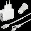vivanco Universal Ladegeräte Set inkl. 2 in 1 Micro USB und Lightning Kabel - Weiss