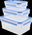 emsa CLIP & CLOSE - Frischhaltedosen - 3-er Set - Transparent/Blau