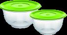 emsa SUPERLINE - Salatschalen mit Deckel, Set - 2 l und 3.5 l - Grün/Transparent