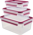 emsa CLIP & CLOSE - Frischhaltedosen - 3-er Set - Transparent/Pink