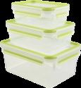 emsa CLIP & CLOSE - Frischhaltedosen - 3-er Set - Transparent/Grün