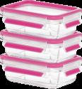 emsa CLIP & CLOSE Glas - Frischhaltedosen - 3-er Set - Transparent/Pink