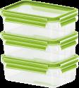 emsa CLIP & CLOSE Glas - Frischhaltedosen - 3-er Set - Transparent/Grün