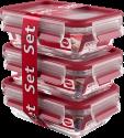 emsa CLIP & CLOSE Glas - Frischhaltedosen - 3-er Set - Transparent/Rot