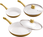 Genius Cerafit Gold Diamant Edition - Set de casseroles (5 pièces) - Ø 28 / 24 / 20 cm - Or