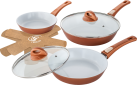 Genius Cerafit Fusion - Set de casseroles (7 pièces) - Ø 28 / 24 / 20 cm - Cuivre métallique