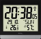 technoline WS 8014 - Orologio radio da parete - Visualizzazione temperatura interna - nero / argento