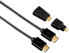 hama High Speed HDMI™-Kabel, Steck. - Steck., Ethernet, 1.5 m + 2 HDMI™-Adapter