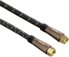 hama SAT-Anschlusskabel, F-Stecker - F-Stecker, Metall, vergoldet, 3 m, 120 dB