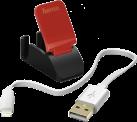 hama Ens. charge - Câble de charge + support dock - 20 cm - Noir
