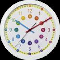hama Easy Learning - Horloge murale pour enfant - Ø 30 cm - Blanc/Coloré