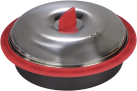 xavax Pentola per microonde con coperchio - 1.5 l - Nero/Argento/Rosso