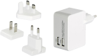 ednet. Ladeadapter-Reiseset - EU/UK/US - 2x USB - Weiss