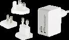 ednet. Ladeadapter-Reiseset - EU/UK/US - 2x USB - Weiss