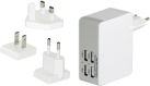 ednet. Ladeadapter-Reiseset - EU/UK/US - 4x USB - Weiss