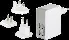 ednet. adaptateur de charge kit de voyage - EU/UK/US - 4x USB - blanc