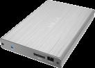 ICYBOX IB-231StU3-G - Gehäuse - Für 2.5 SATA SSD/HDD - Silber/Grau