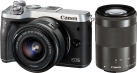 Canon EOS M6 + EF-M 15-45 mm + EF-M 55-200 mm - Systemkamera - 24.2 MP - Silber