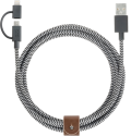 NATIVE UNION Belt Cable Twinhead - Lightning und Micro-USB Kabel - 2 m - Grau