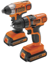 BLACK & DECKER BDCDDIM18B - Kit Perceuse sans fil + Visseuse à impact - 18 volt - orange/noir