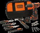 BLACK + DECKER BDCDD12HTSA - Perceuse visseuse compacte - Incl. 20 accessoires - noir/orange