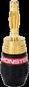 MONSTER QuickLock MKII Gold Banana - Connecteurs pour câbles d'enceinte à monter sans outils - Noir/Or