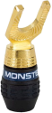 MONSTER QuickLock MKII Gold Angled - Werkzeugfreier Anschluss für Lautsprecherkabel - Schwarz/Gold