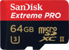 SanDisk Extreme PRO microSDXC UHS-II - Speicherkarte - 64 GB - Schwarz / Rot