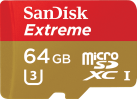 SanDisk Extreme microSD UHS-I - carte mémoire - 64 Go - or / rouge