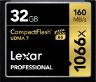 Lexar Professional 1066x CompactFlash - Scheda di memoria - Capacità 32 GB - Nero