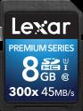 Lexar Premium Series 300x SDHC UHS-I - Speicherkarte - Kapazität 8 GB - Schwarz
