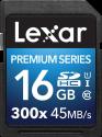 Lexar Premium Series 300x SDHC UHS-I - Speicherkarte - Kapazität 16 GB - Schwarz